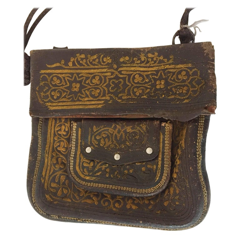 6c29cc98d2 Leather Moroccan Berber Bag For Sale at 1stdibs