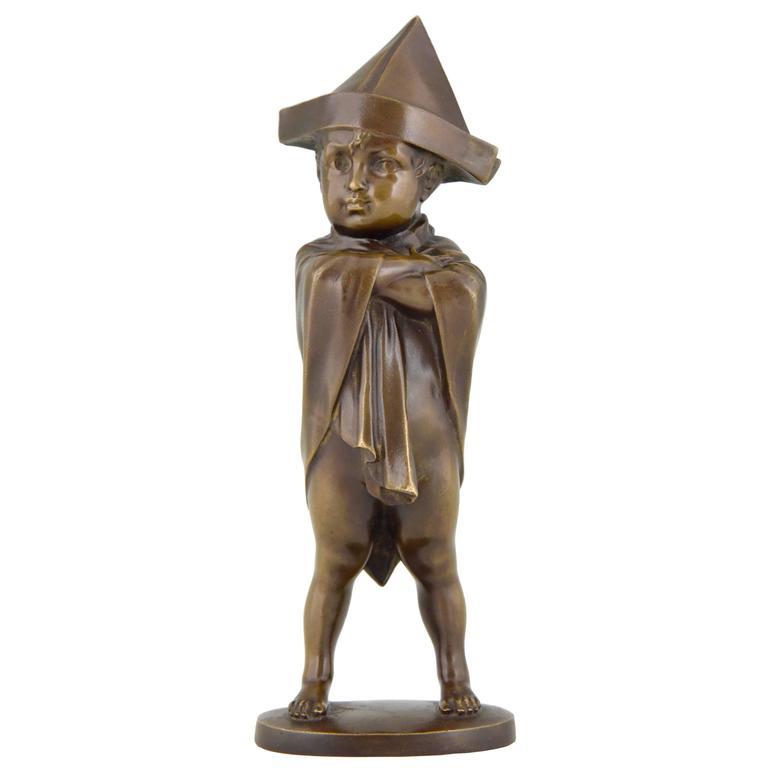 Art Deco Bronze Sculpture Of A Boy Dressed Like Napoleon By Joseph