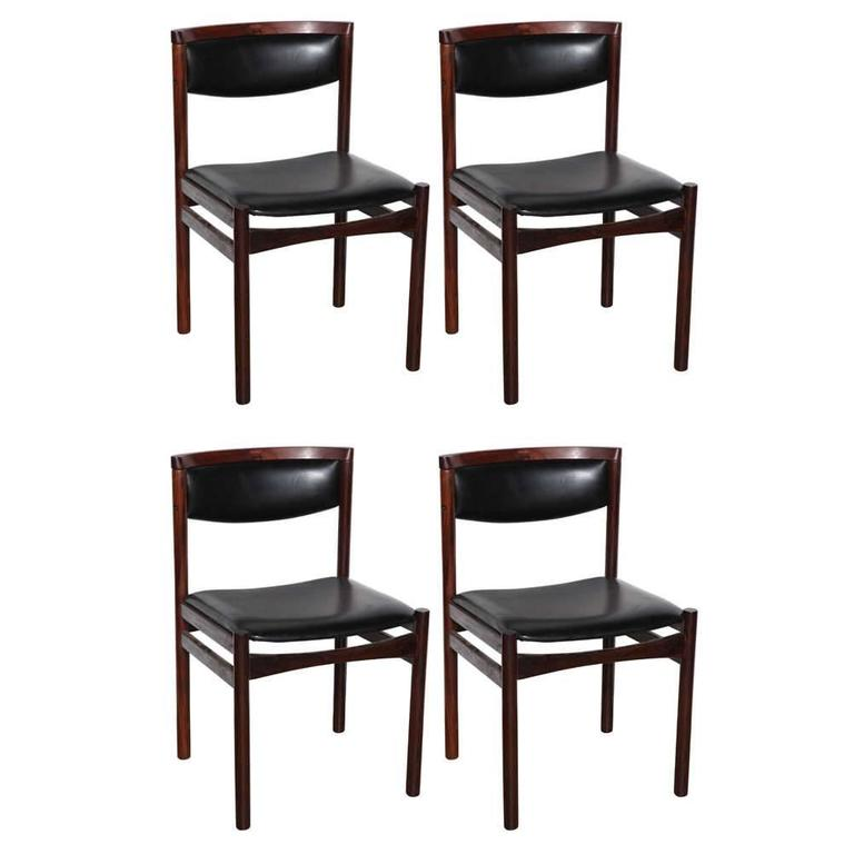 Set Of Four S A X Soro Stolefabrik Danish Modern Rosewood Side Chairs 1960s For