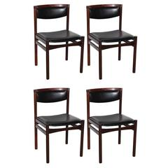 Set of Four S.A.X Soro Stolefabrik Danish Modern Rosewood Side Chairs, 1960s