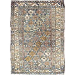 1880s Antique Shirvan Rug with All-Over, Blossoming Cross-Shaped Motifs