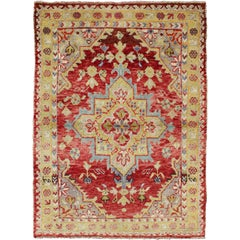 Center Medallion Antique Turkish Oushak Rug in Red, Lime Green, Gray and Ivory