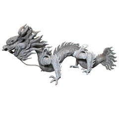 Chinese Important Fine Antique Bronze Dragon, Qing dynasty (1644-1911), 47""