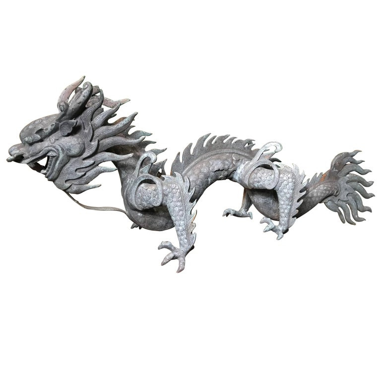 "Chinese Important Fine Antique Bronze Dragon, Qing dynasty (1644-1911), 47"" For Sale"