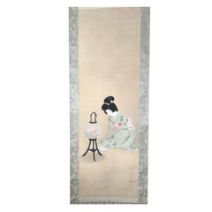 "Japanese Hand-Painted Silk Scroll ""Lovely Bijin Gazing into a Floral Lamp"""