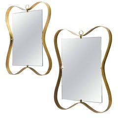Fontana Arte Pair of Brass Framed Mirrors, Italy, circa 1950
