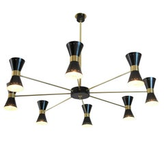 Stilnovo Eight-Light Chandelier in Brass and Black