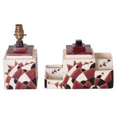 Art Deco Boch Freres Charles Catteau Belgian Cubist Keramis Ceramics, Desk Set