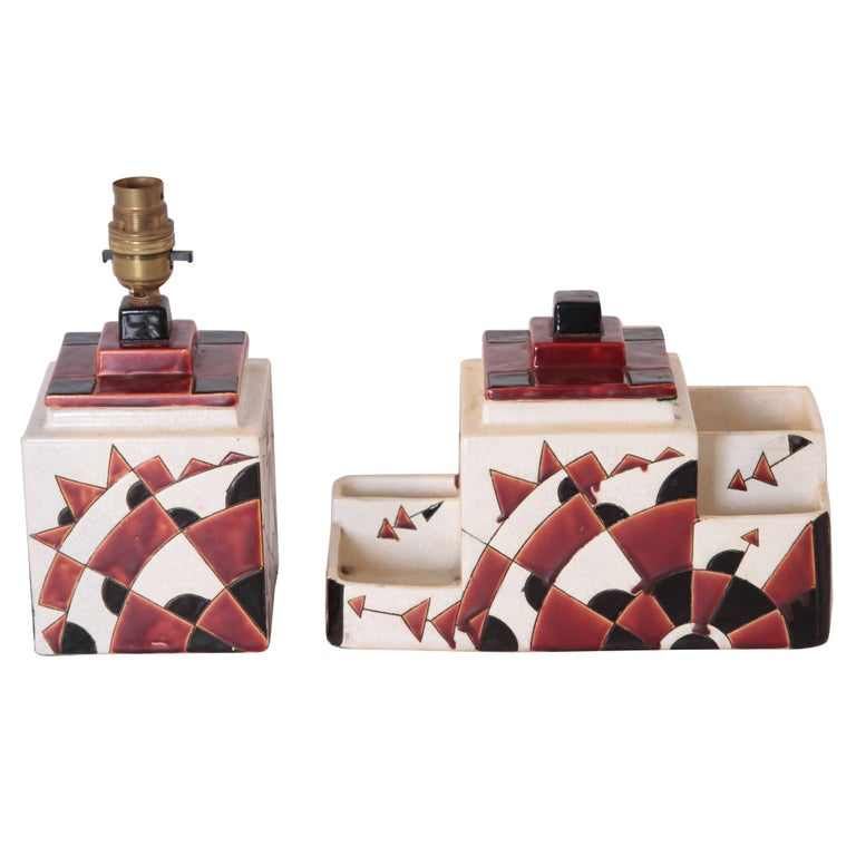 Art Deco Boch Freres Charles Catteau Belgian Cubist Keramis Ceramics, Desk Set For Sale