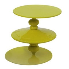 Spinning Yellow Top Coffee Table with Revolving Top Plane by Paolo Giordano