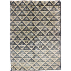 All-Over Turkish Tulu Rug with Blue and Ivory Triangle / Flower Design