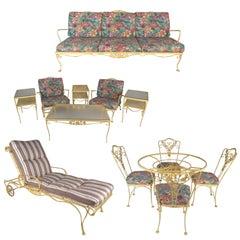Mid-Century Modern Thirteen Piece Russell Woodard Style Wrought Iron Patio Set