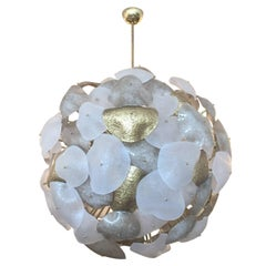 Crostoli Chandelier with Petals in Gold and Frosted Murano Glass