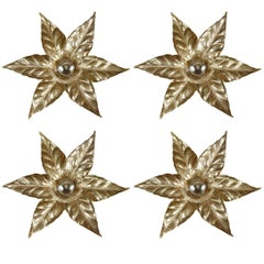 Gold Washed Stylized Flower Sconces