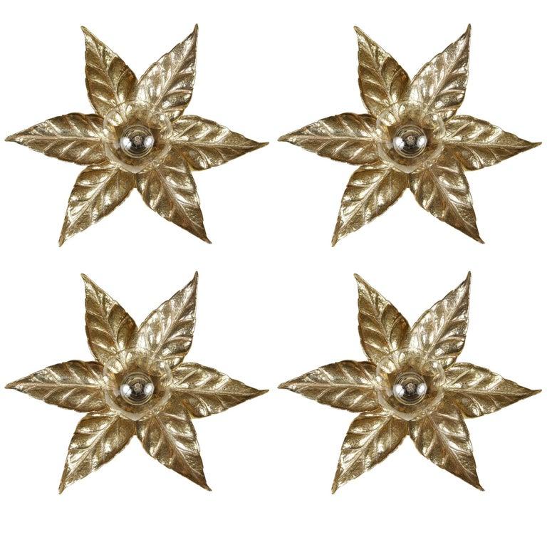 Gold Washed Stylized Flower Sconces