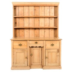 Antique 19th Century Solid Pine Country Style Welsh Dresser, Circa 1850