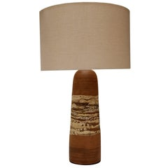 Rare Californian Ceramic Table Lamp with Etched Landscape Motif