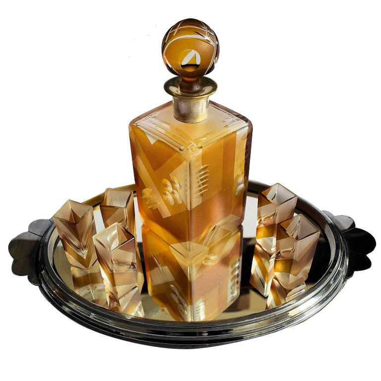 1930s Art Deco Glass Decanter Set with Geometric Design