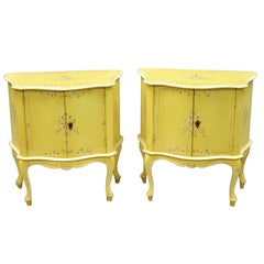 Pair of Small Italian Florentine Yellow Painted Bombe Commodes