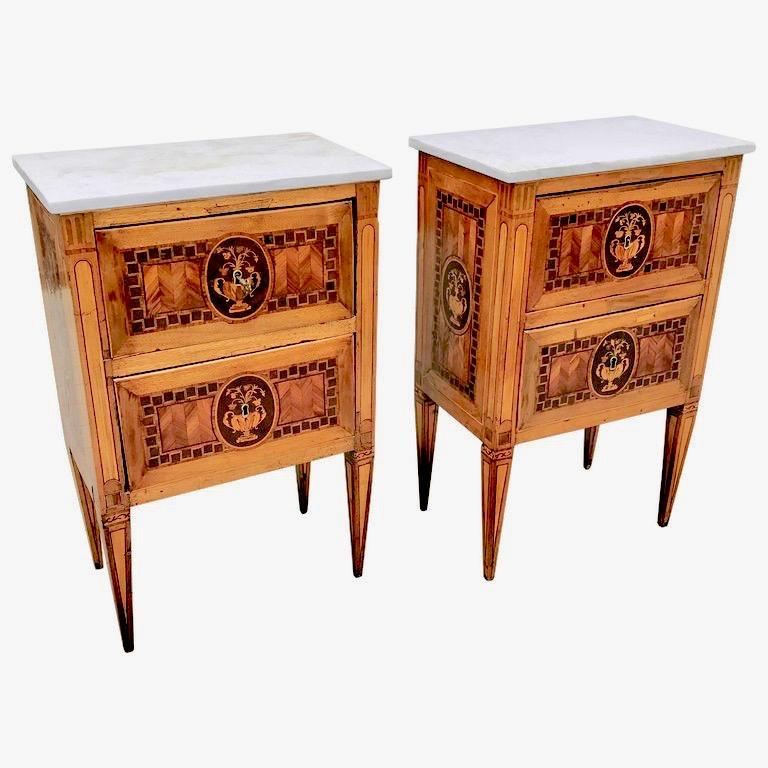 Pair of 18th Century Italian Fruitwood Neoclassical Small Commodes