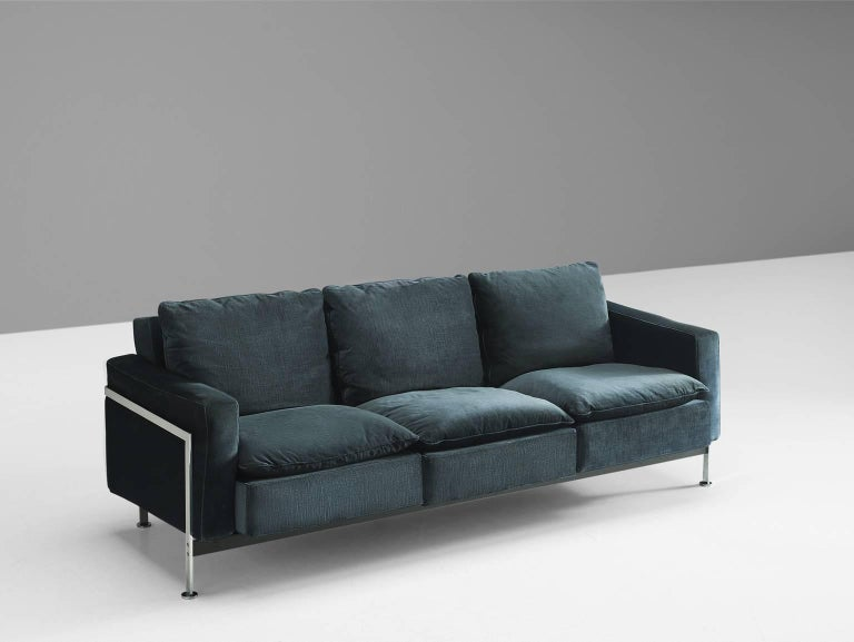 Pair of Robert Haussmann for De Sede Velvet Sofas, Switzerland 3