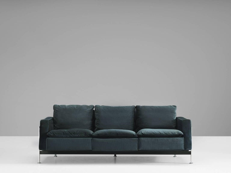Pair of Robert Haussmann for De Sede Velvet Sofas, Switzerland 4