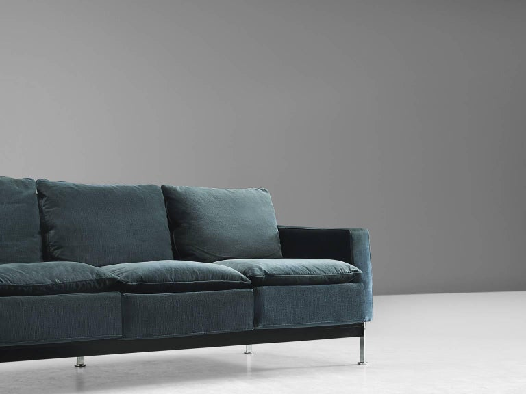 Pair of Robert Haussmann for De Sede Velvet Sofas, Switzerland 6