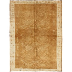 Light Brown Vintage Turkish Rug with Lattice Pattern in Light Brown and Ivory