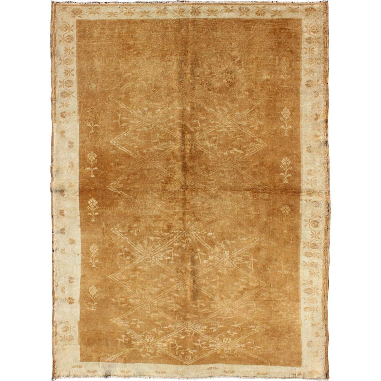 Light Brown Vintage Turkish Rug with Lattice Pattern in Light Brown and Ivory For Sale