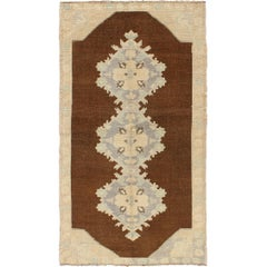 Vintage Turkish Oushak Runner with Floral Medallions in Brown, Gray, Ice Blue
