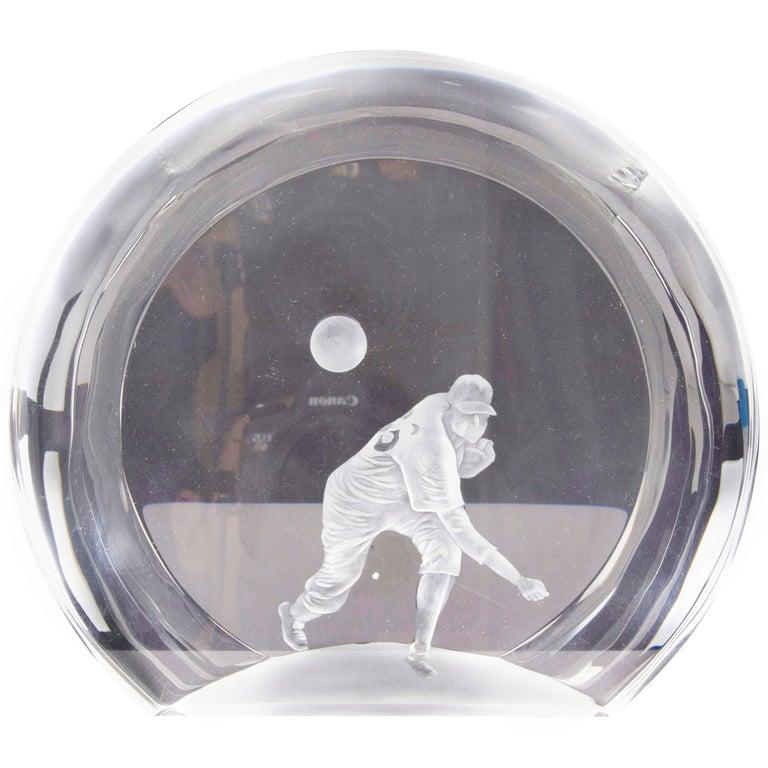 Laser Etched 3D Crystal Baseball Trophy