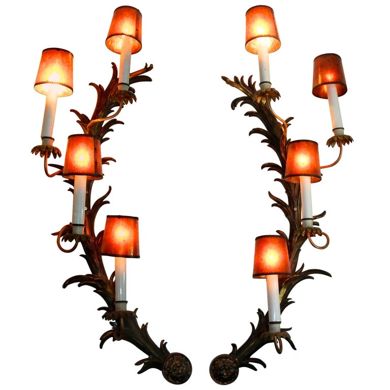 Monumental French Antique Rococo Bronze Half Moon Sconces For Sale
