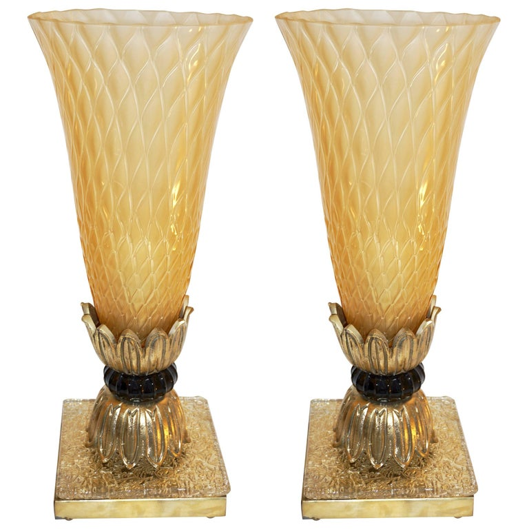 Pair of Bronze and Gold Honeycomb Murano Glass Lamps attributed Barovier & Toso