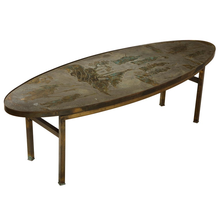 Philip and Kelvin LaVerne Signed Patinated Bronze Oblong Coffee Table