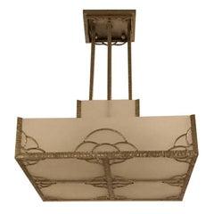 Französischer Art Deco Kronleuchter im industriellen Stil, vernickelt, Eisen und Glas