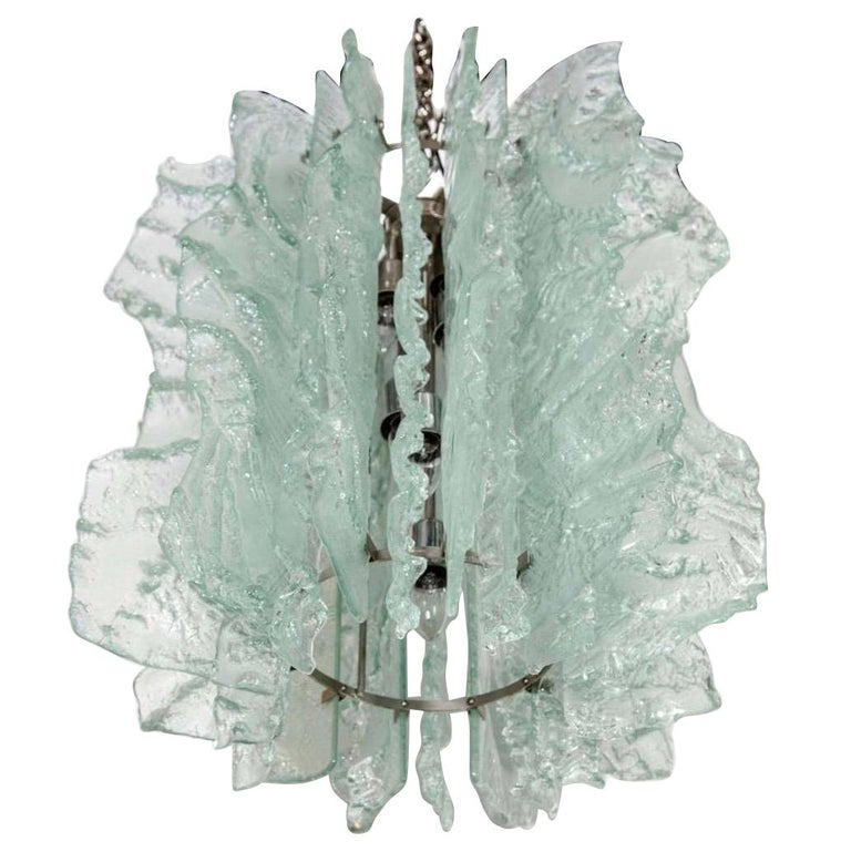 Mid Century Modern Large Ice Glass Chandelier with Relief Design For Sale