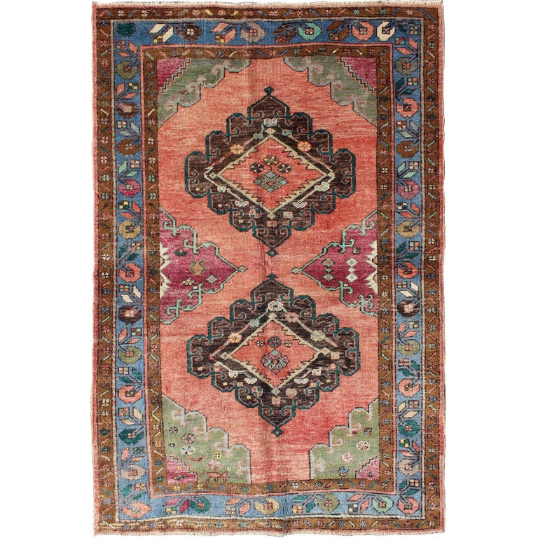 Colorful dual medallions mid century turkish oushak rug for Colorful rugs for sale