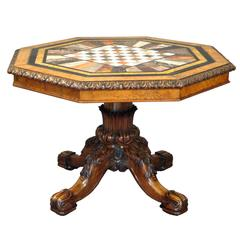 Exceptional Regency Walnut Centre Table with Specimen Marble Top