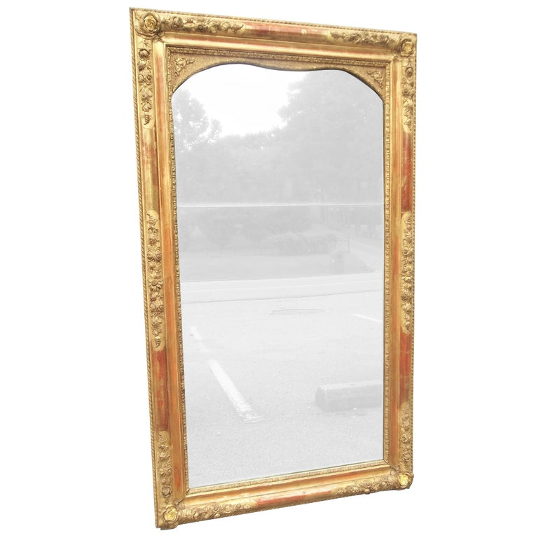 Colorful Lemon Giltwood Louis XVI Style Mirror With Floral Garlands  For Sale
