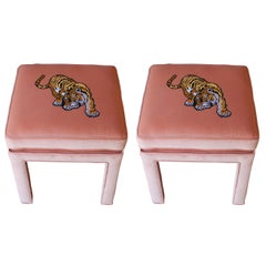Luxe Modern Light Pink Velvet Pair of Stools or Ottomans with Embroidered Tigers