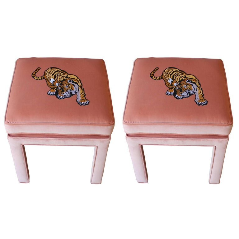 Luxe Modern Light Pink Velvet Pair of Stools or Ottomans with ...