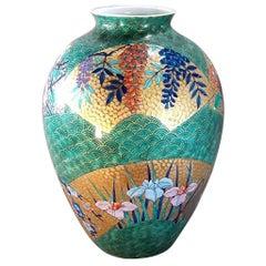 Large Japanese Hand-Painted Gilded green Imari Porcelain Vase by Master Artist