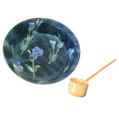 "Japanese Big 16"" Blue Flowers Bowl  Mint, Signed, & Boxed with Japanese  ladle"
