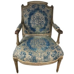 18th Century Louis XVI Fauteuil Upholstered in Fortuny Fabric