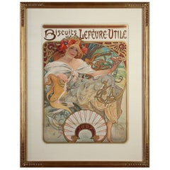 Alphonse Mucha Biscuits Lefevre-Utile 1897 Original Art Nouveau Poster