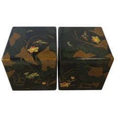 Pair Modern Black and Gold Side or End Tables