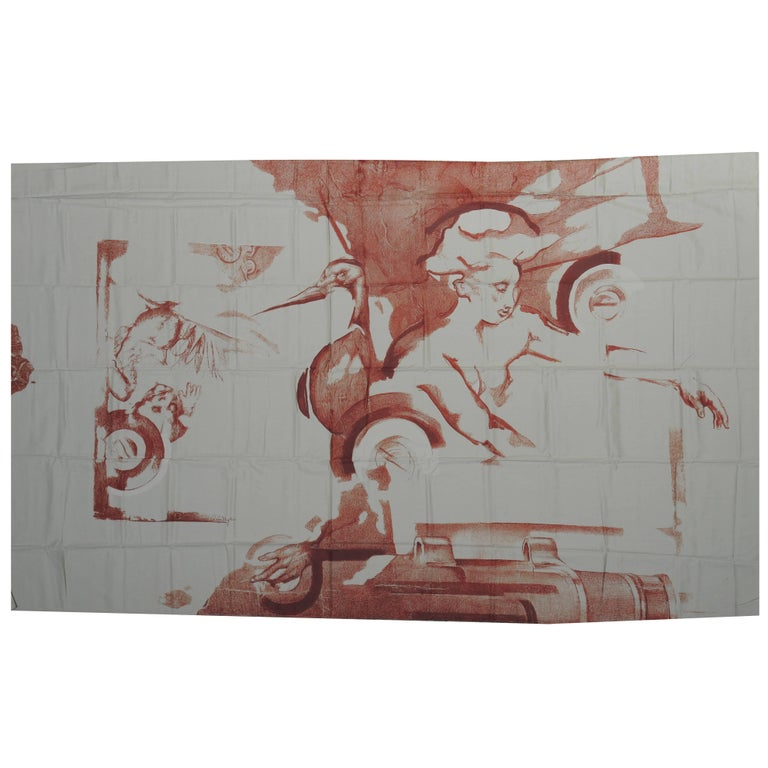 "Large Vintage 1988 Textile""Mensa Plena""by The Belgian Artist Octave Landuyt"