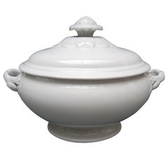 19th Century Belgian Oval White Ironstone Covered Serving Tureen