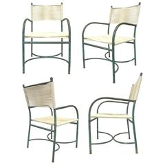 Set of Four Bronze Patinated Outdoor Chairs by Robert Lewis