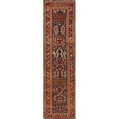 Antique Red and Blue Floral Kurd Runner Rug